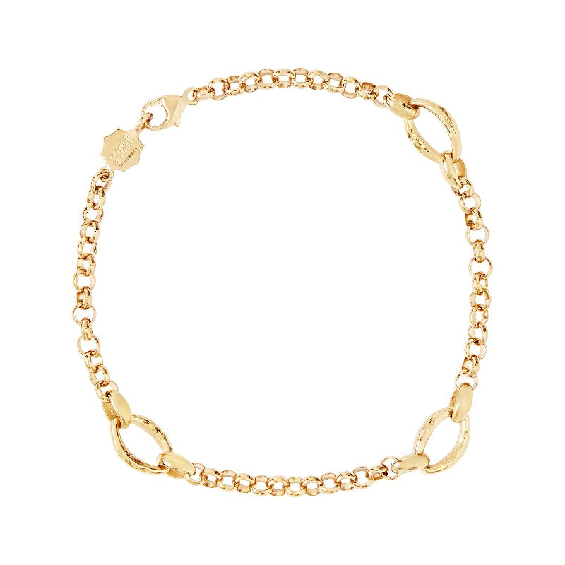 Chain Bracelet with three Hammered oval links