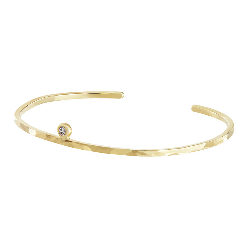 White Diamond Hammered Nomad Bangle - 0.04CT