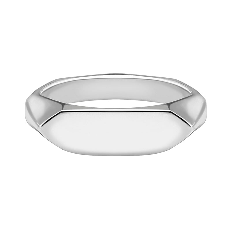 Mens Long Pebble Signet Ring