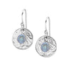 Hammered Disc & Dove Grey Freshwater Pearl Earrings