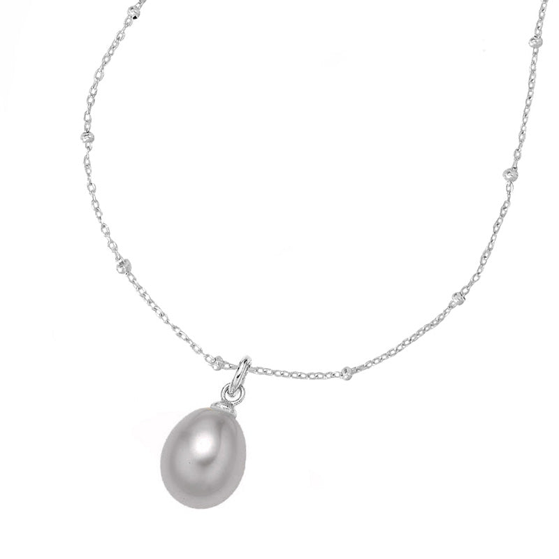 Adjustable Chain & 8mm Oval Dove Grey Pearl Pendant
