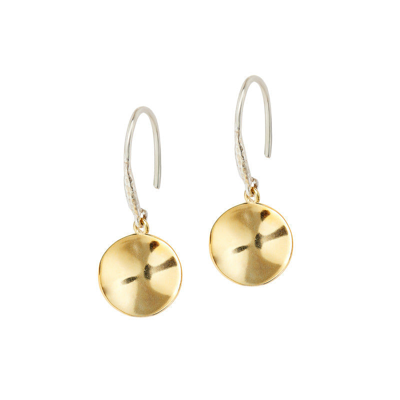 12mm Ripple Disc Drop Earrings