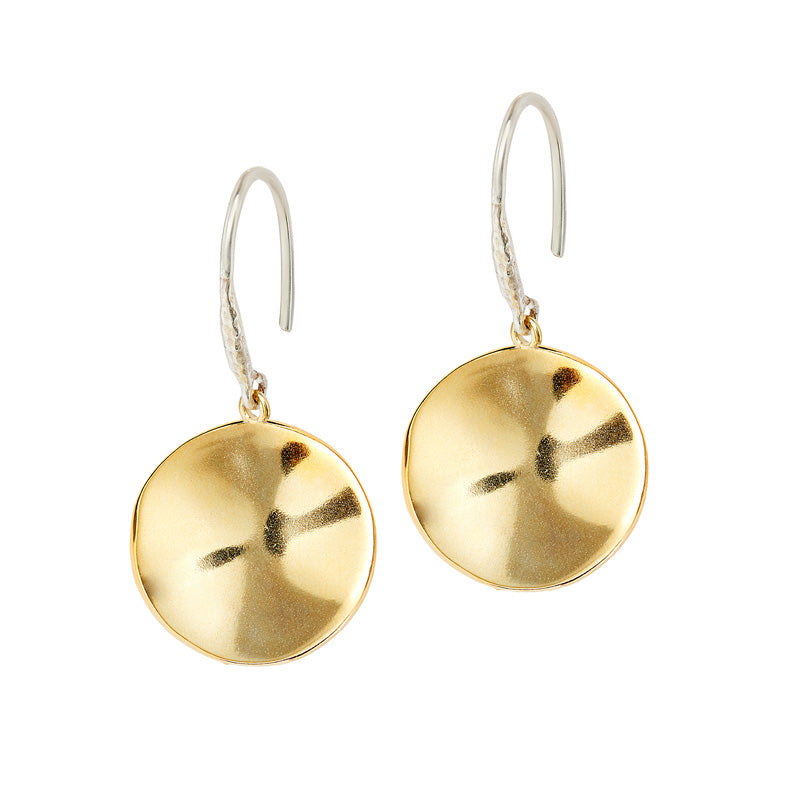 18mm Ripple Disc Drop Earrings