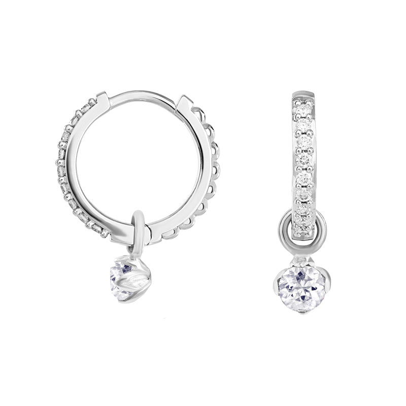 Medium White Diamond Story Lotus Hoops