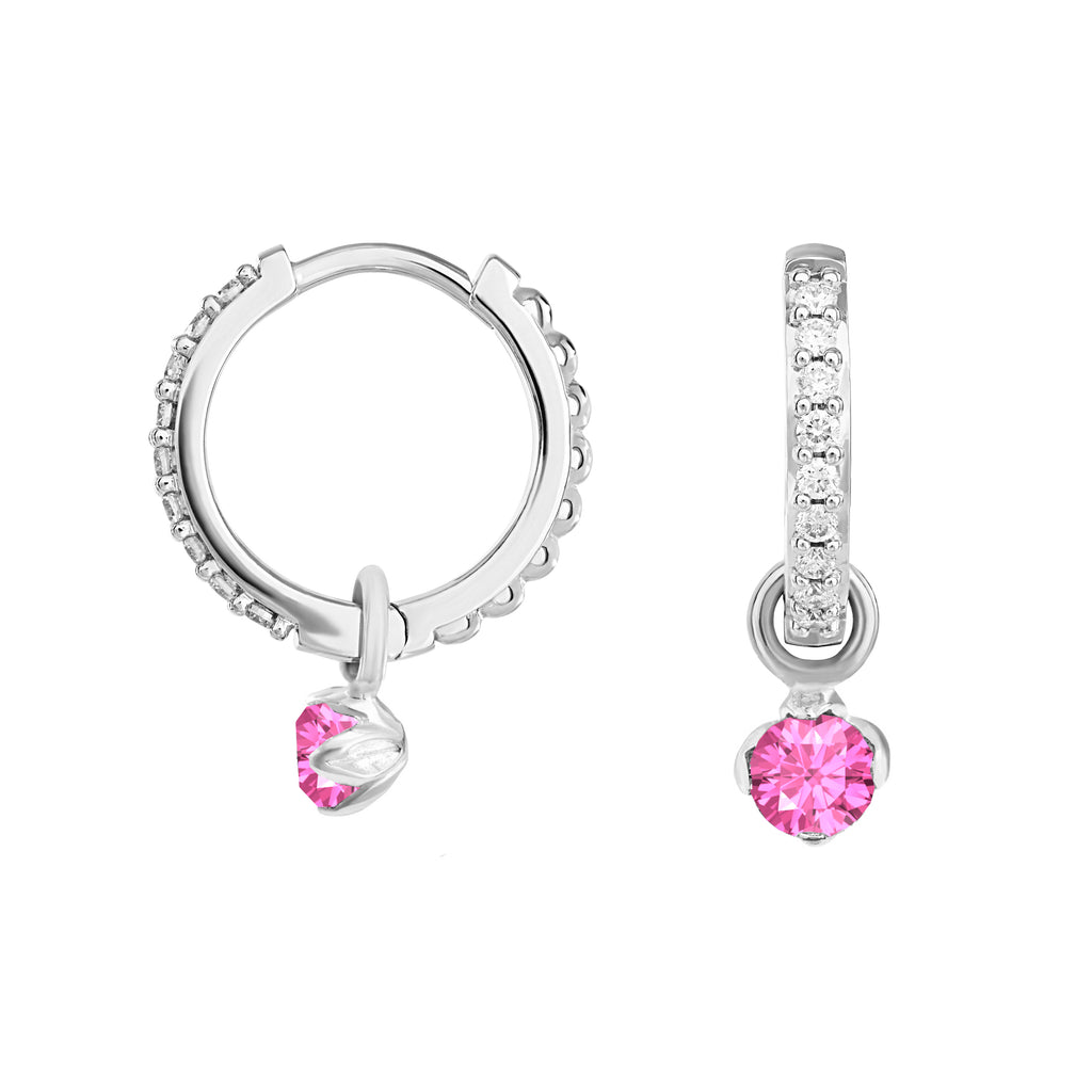 Medium White Diamond & Pink Sapphire Story Lotus Hoops