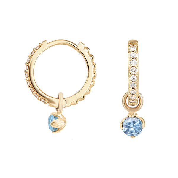 Medium White Diamond & Aquamarine Story Lotus Hoops