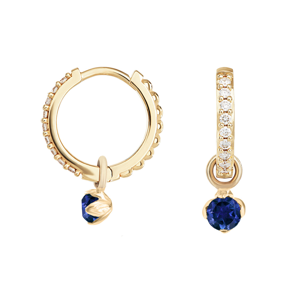 Medium White Diamond & Blue Sapphire Story Lotus Hoops
