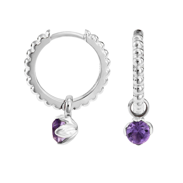 Amethyst Charm on Large Dotty Orissa Hoops