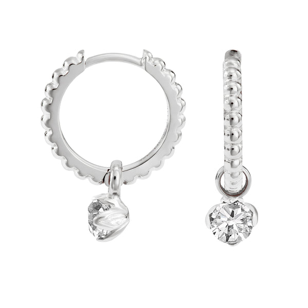 White Topaz Lotus Bud Charm on Large Dotty Story Hoops