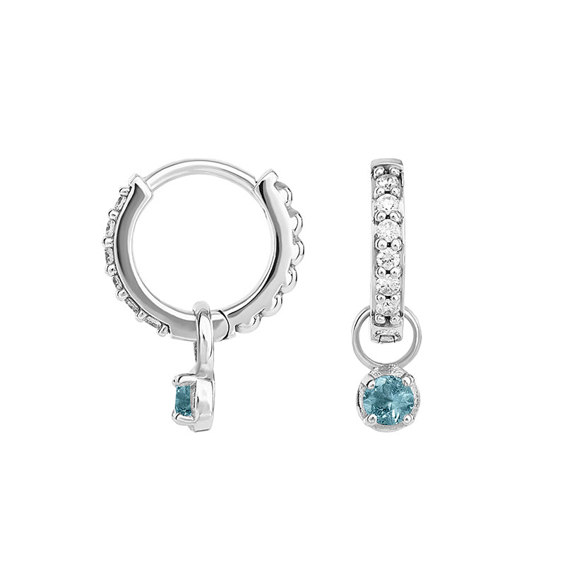Small White Diamond & Aquamarine Diamond Story Stargazer Hoops