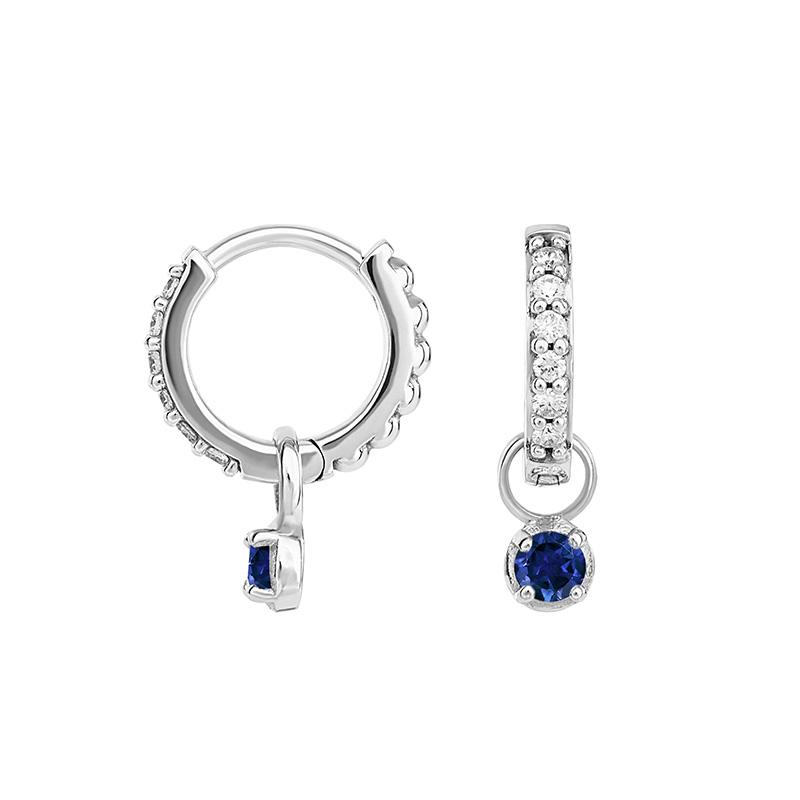 Small White Diamond 9ct Story Hoops + Sapphire set Drops