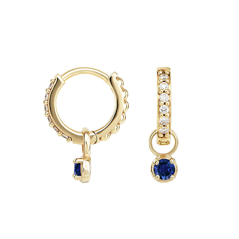 Small White Diamond & Blue Sapphire Diamond Story Stargazer Hoops