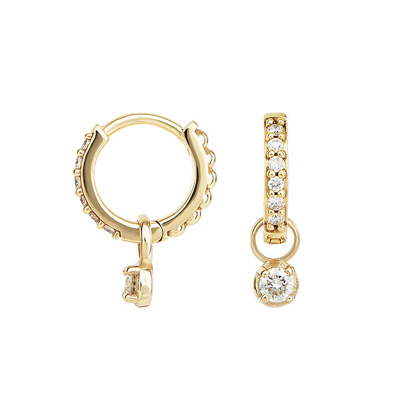 Small White Diamond Story Stargazer Hoops