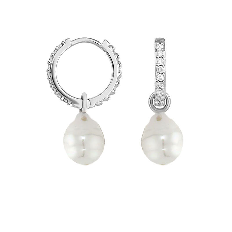 Medium White Diamond Story Hoops + South Sea Pearl Drops