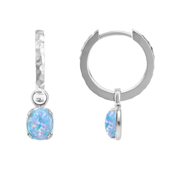 Array Hammered Hoops + Opal Charm Drops