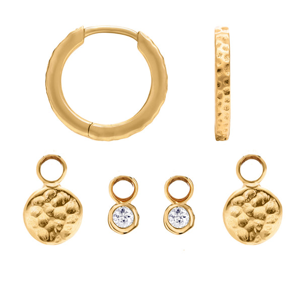 Hammered  Hoops Disc & Dewdrop Set