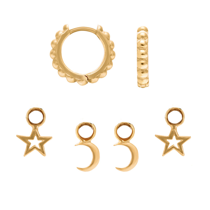 Dotty Story Hoops Moon & Star Set