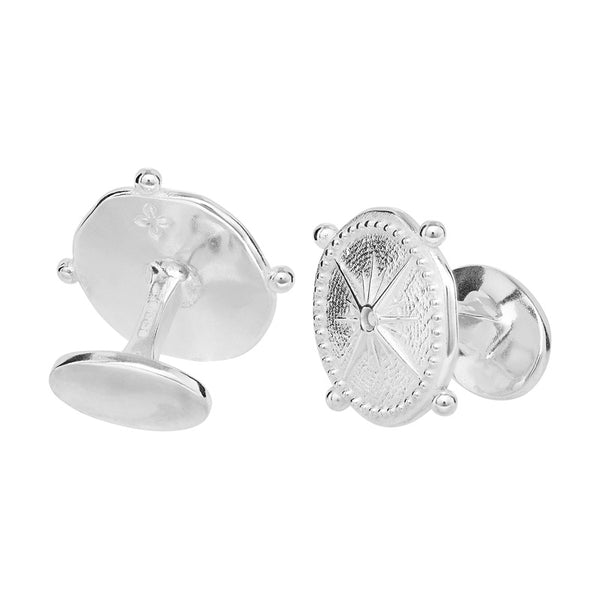 Round Engravable True North Story Cufflinks