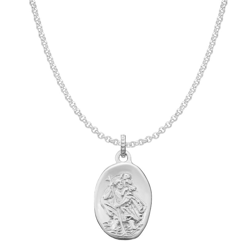 Mens Engravable St. Christopher Story Necklace