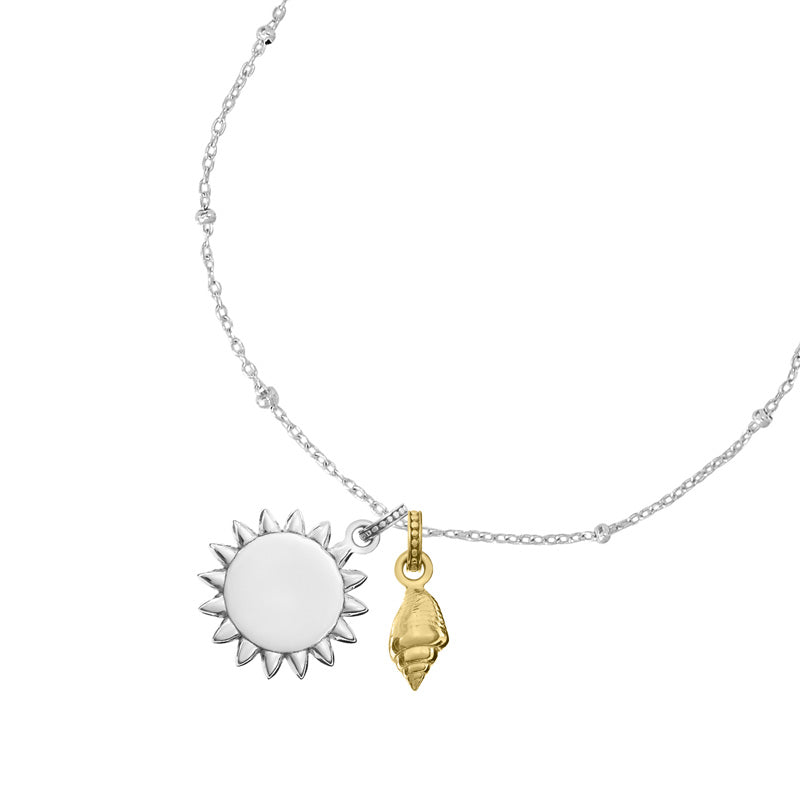 Engravable Sun & Seashell Story Necklace