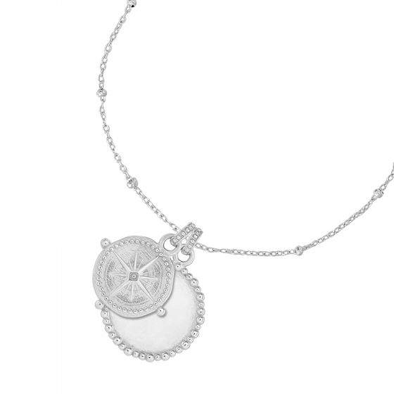 Engravable Dotty Disc & True North Story Necklace