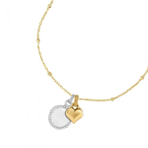 Engravable Dotty Disc & Heart Story Necklace
