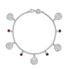 Hammered Disc & Ruby Twinkle Bracelet