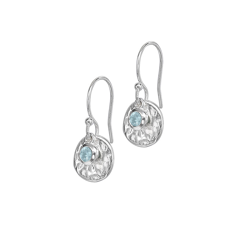 Hammered Disc & Aquamarine Twinkle Drop Earrings