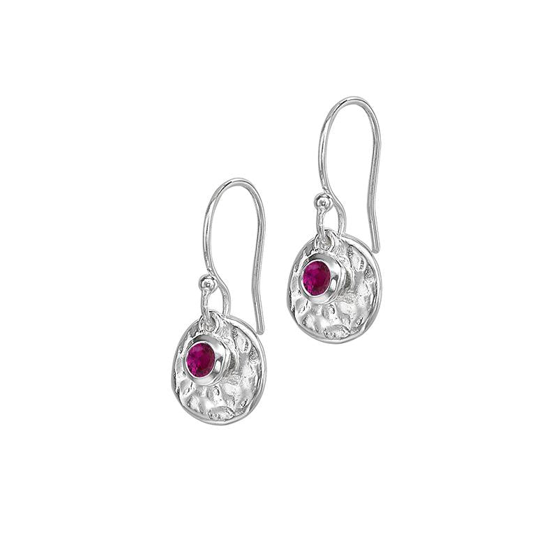 Hammered Disc & Ruby  Array Earrings
