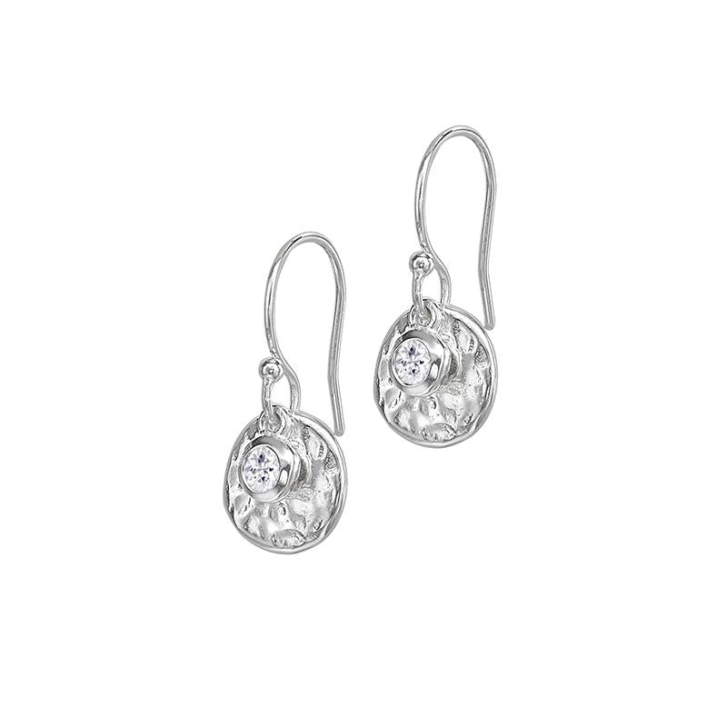 Hammered Disc & White Sapphire Array Earrings