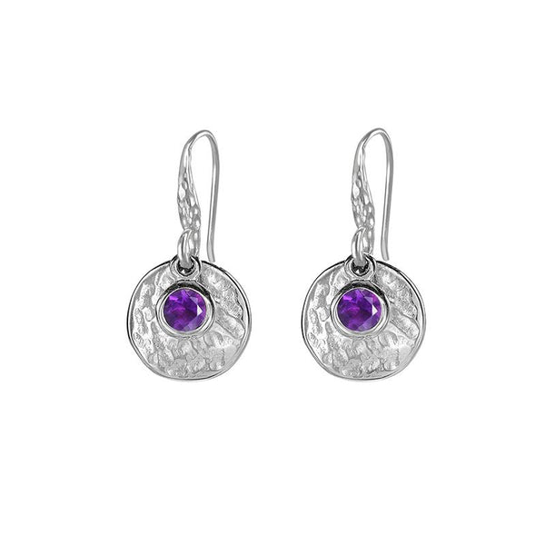 Hammered Disc & Amethyst Twinkle Drop Earrings