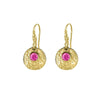 Hammered Disc & Pink Tourmaline Twinkle Drop Earrings