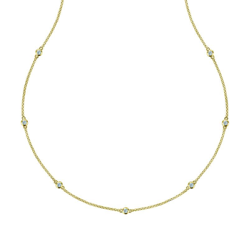 Long Aquamarine Twinkle Chain Necklace