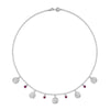 5 Hammered Disc & Ruby Twinkle Necklace