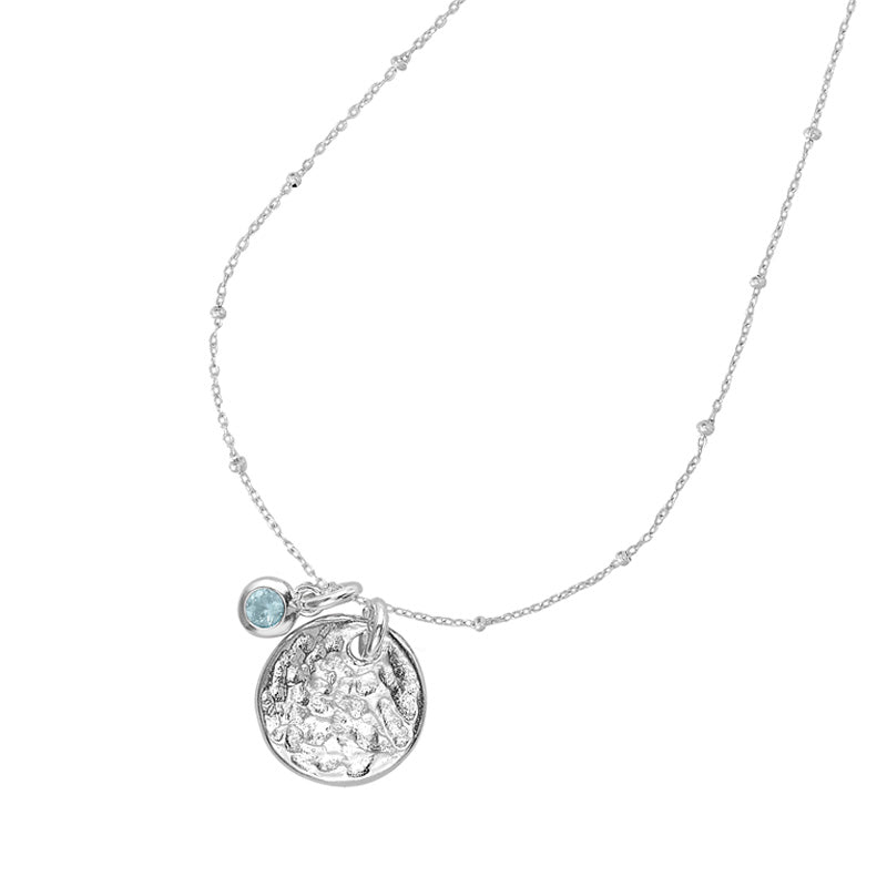 Hammered Disc & Aquamarine Twinkle Necklace