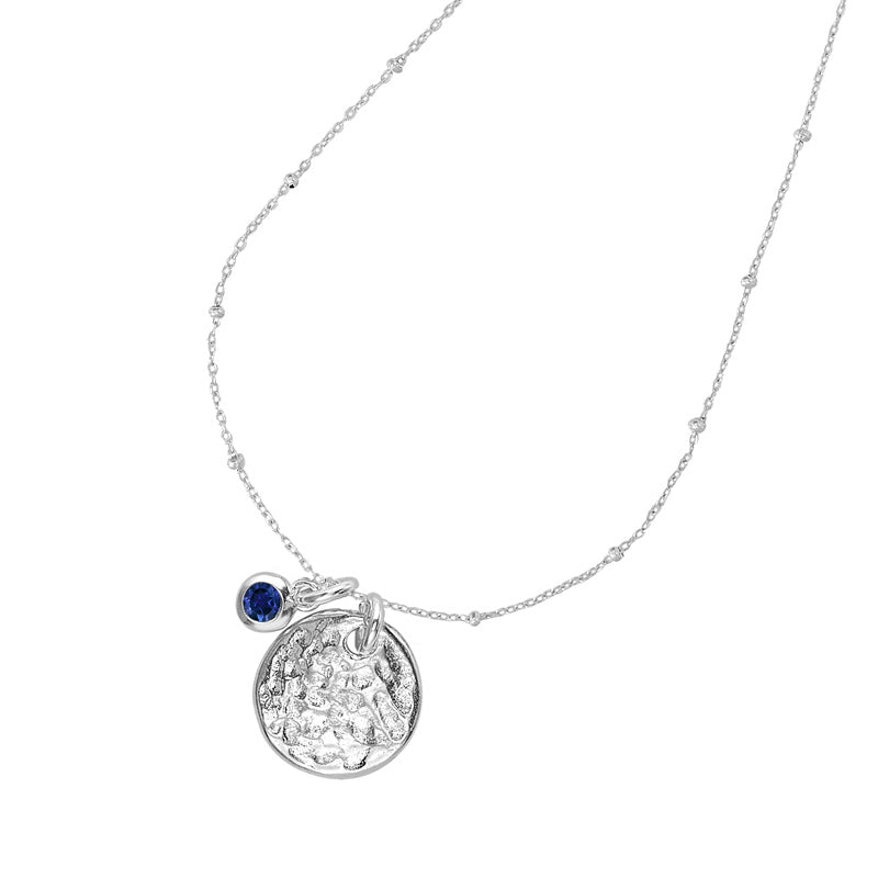 Hammered Disc & Blue Sapphire Twinkle Necklace