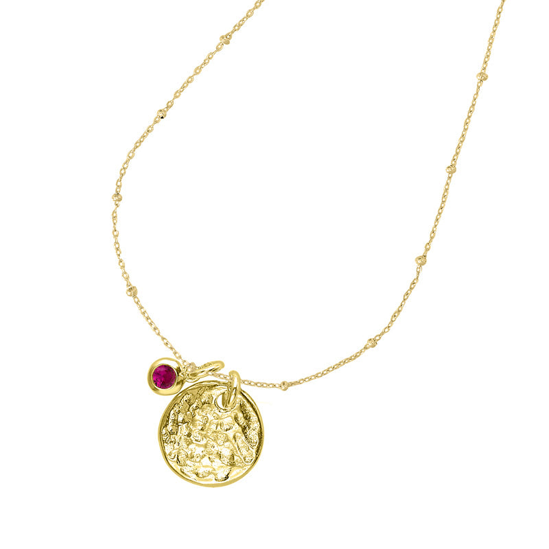 Hammered Disc & Ruby Twinkle Necklace