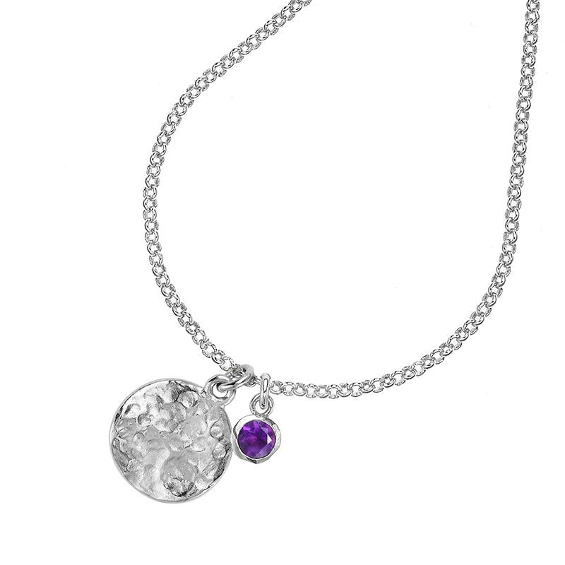 Hammered Disc & 5mm Amethyst Twinkle Pendant