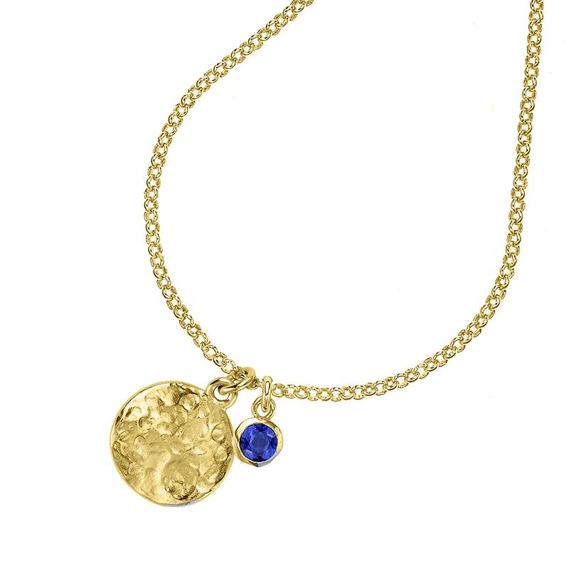 Hammered Disc & 5mm Blue Spinel Twinkle Pendant