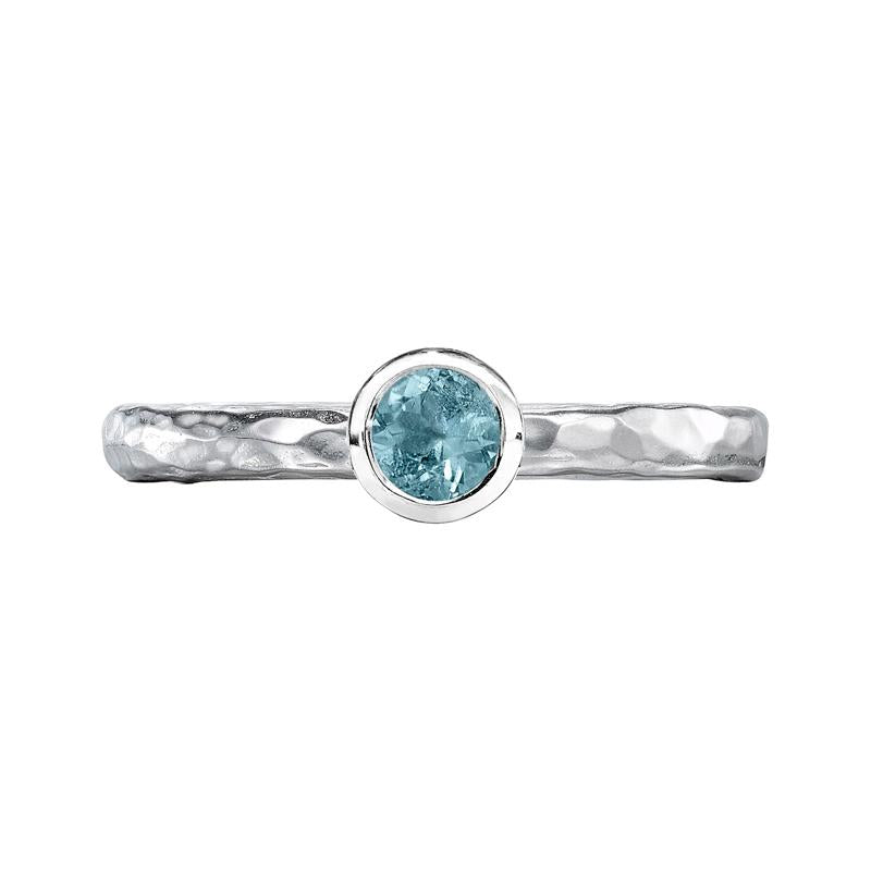 4mm Aquamarine Hammered Twinkle Ring