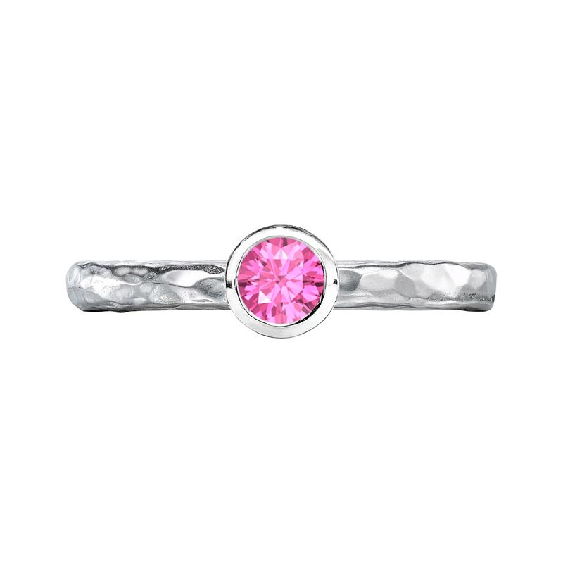 4mm Pink Sapphire Hammered Twinkle Ring