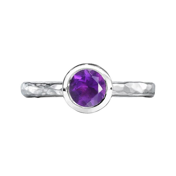 6mm Amethyst Hammered Twinkle Ring
