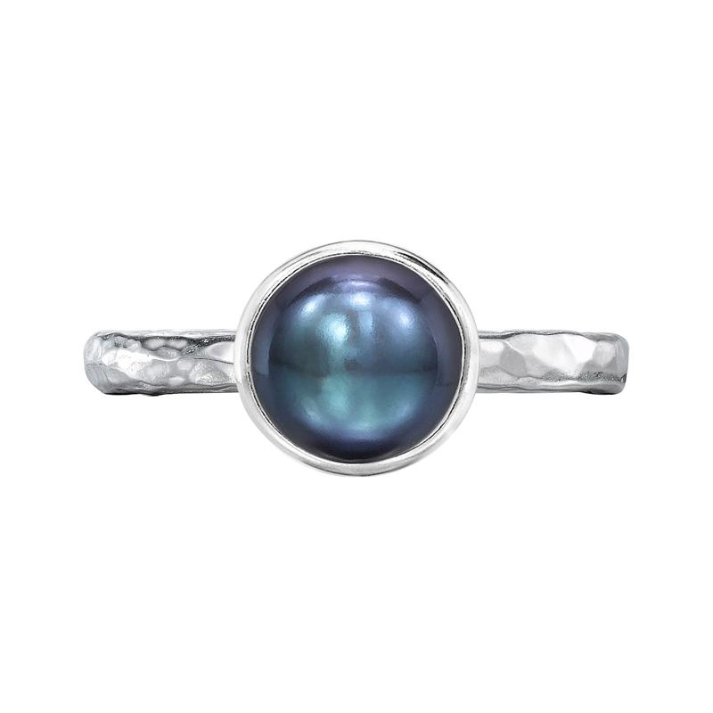 8mm Peacock Pearl Hammered Twinkle Ring