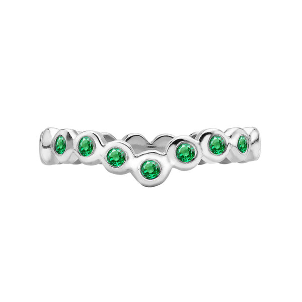 Sterling Silver 3mm Green Garnet Dewdrop Wishbone Twinkle Ring