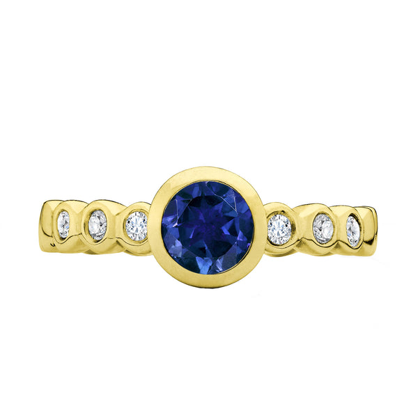 5mm Blue Sapphire Dewdrop 18ct Yellow Gold Ring