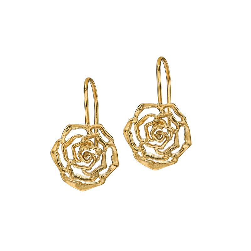 15mm Wild Rose Flower Drop Earrings