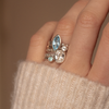 Marquise Blue Topaz Dewdrop Twinkle Ring