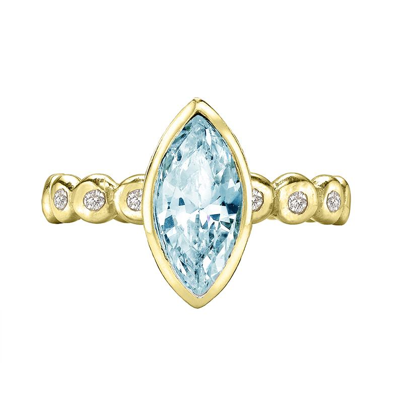 Marquise Aquamarine Dewdrop 18ct Gold Twinkle Ring
