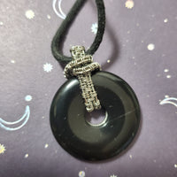 Wire Wrapped Onyx Donut Necklace