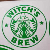 Defective Witch Siren - Green Satin Permanent Vinyl Decal- Discounted